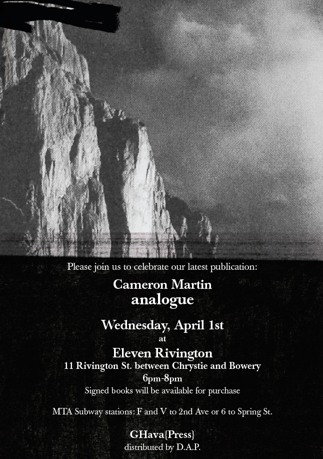 "Celebrate the launch of Cameron Martin ""analogue"""