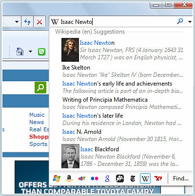 IE8 Instant Search