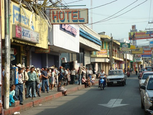 People queing up in front of my hotel in Escuintla, Guatemala.