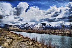 View From the Cali St Bridge (AlongtheTrailPhoto) Tags: sky mountains water weather clouds river montana downtown missoula rockymountains hdr clarkforsk