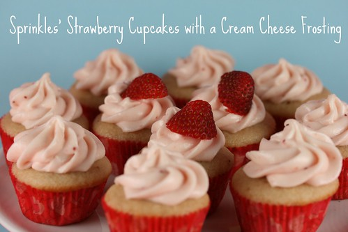 Food Librarian - Sprinkles Strawberry Cupcakes and Cream Cheese Frosting