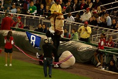 Thomas Jefferson trips in the Washington Nationals presidents race, but is granted the victory.