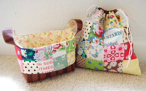 fabric basket & a matching patchwork bag