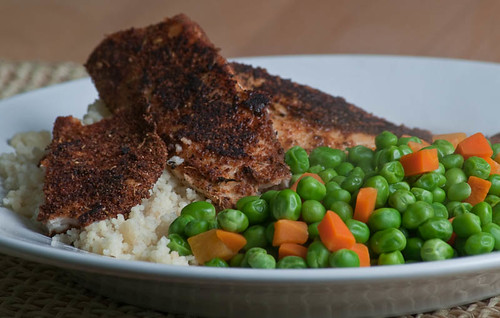 Blackened Tilapia With Couscous, Peas, And Carrots