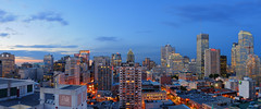 Downtown Montreal Panorama at dusk | RAW (David Giral | davidgiralphoto.com) Tags: urban panorama canada skyline night evening nikon downtown quebec dusk montreal d200