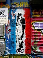 StreetArt, Paris, France (balavenise) Tags: streetart paris france art wall publicspace graffiti mural artist belleville tag urbanart mur bleublancrouge arteurbano artdelarue arturbain ephemere artedecalle ruedenoyez denoyez artsauvage efemero flickrgiants