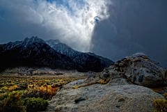 Lone Pine Peak and Sun Rays Alabama Hills (Bill Wight CA) Tags: california storm mountains clouds sunrays lonepine highsierra lonepinepeak anawesomeshot absolutelystunningscapes billwight