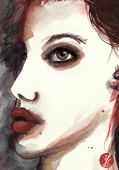 lo li ta (bornschein) Tags: life red portrait black love moleskine girl illustration watercolor painting person mixedmedia communication gobmagazine illustratedface