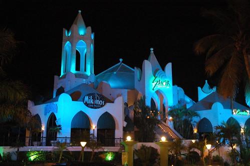 Sheik restaurant and nightclub in blue, night life, Mazatlan, Sinaloa, Mexico by Wonderlane