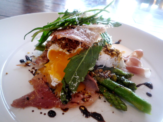 Prosciutto, baked asparagus, parmesan and rocket topped with two poached eggs and dukkah