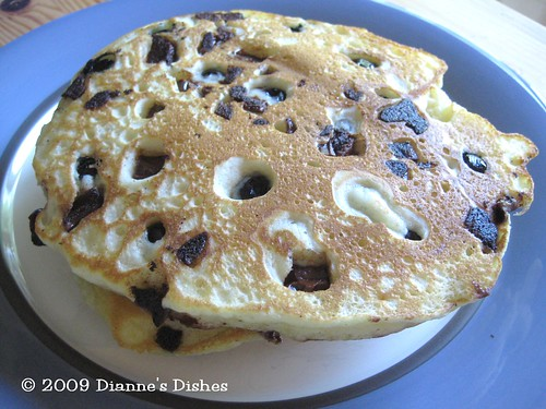 Blueberry Milk Chocolate Chunk Pancakes
