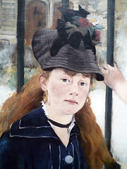 Édouard Manet's The Railway, oil on canvas, 1872-73 with detail of face