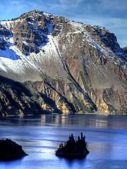 Crater Lake HDR (triangle_man) Tags: park cliff lake snow water rock oregon landscape island volcano pond cone crater caldera craterlake hdr phantomship