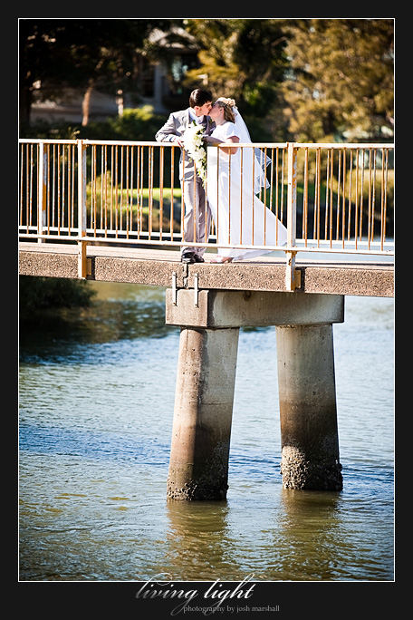 Bride and groom on bridge, Newcastle.