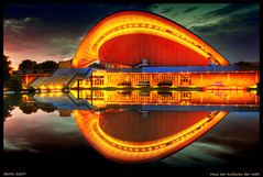 Berlin Mitte (Wolfgang Staudt) Tags: blue light shadow summer berlin night clouds germany deutschland early europa europe darkness nightshot nacht availablelight sommer tripod hauptstadt kultur earlymorning sigma moderne capitol nights 2008 reflexions halle hdr tiergarten netz nachtaufnahme hausderkulturenderwelt berlino bvg  kongresshalle blueribbonwinner schwangereauster interbau hughstubbins supershot spreeufer  flickrcolour haltestellen wolfgangstaudt colorphotoaward aplusphoto 66111 ysplix  nikond300 goldstaraward  hdraward  jimmycarterslcheln salledescongrs