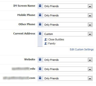 Facebook Privacy settings for contact information