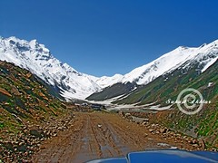 The 1st Look .... (Suh@il) Tags: travel pakistan mountain lake snow tourism rocks track jeep stones glacier adventure valley peaks nwfp naran suhail jeepsafari sonyh5 jeeptrack suhailakhtar northernareaofpakistan lakesaifulmaluk tolakesaifulmaluk shootingfromjeep