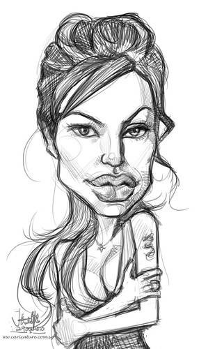 digital sketch of Angelina Jolie