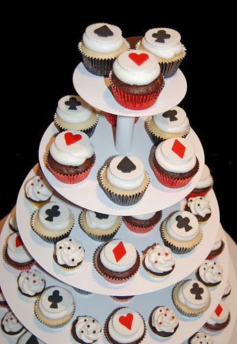 red and black casino night cupcake tower for Camelback Desert School's All in For Kids Charity Event