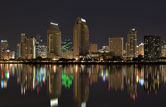 America's Finest City (x-ray tech) Tags: longexposure light black color reflection tower water america marina marriott canon buildings reflect