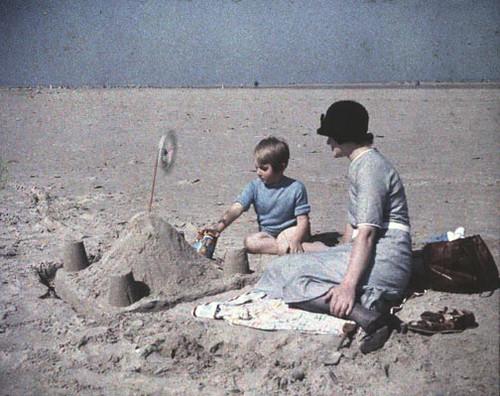 Building a Sand Castle  -  Half a Stereo Autochrome -  c. 1930s