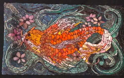 Tattoo Design Koi Fish Mosaic Platter