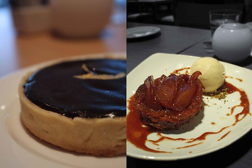 Baked Chocolate Tart & Tarte Tatin of Pears