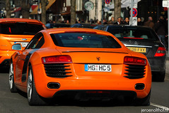Audi R8 (Jeroenolthof.nl) Tags: bw orange white motion black beautiful field car modern germany