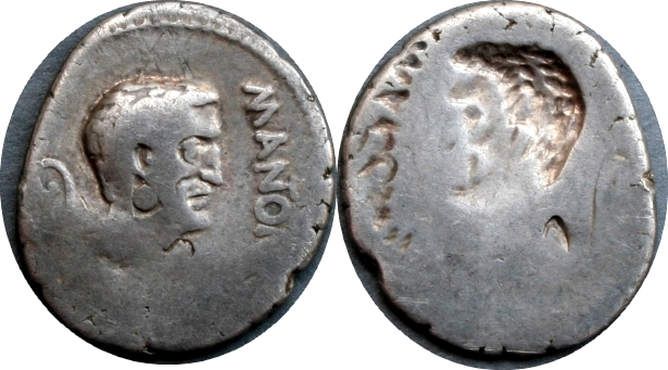 488-01-0268-35-M.ANTON IMP Mark Antony brockage Denarius