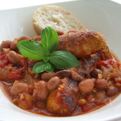 Pork Sausages with Borlotti Beans Stew