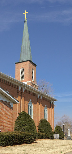 Immaculate Conception (Saint Mary's) Roman Catholic Church, in Brussels, Calhoun County, Illinois, USA - exterior side