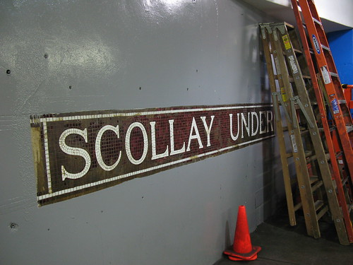 Original subway sign in the Boston T