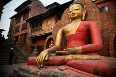 Buddha at the Monkey Temple, Kathmandu (davebrosha) Tags: nepal statue vertical religious cityscape buddha stupa religion kathmandu monkeytemple travelphotography swayambhunath