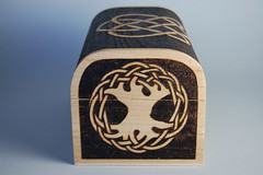 "Personalised Wooden ""Freya"" Trinket Box - Side View (woodtattoos) Tags: wood art design wooden treasure box handmade decorative name chest craft knot gift celtic personalized trinket knotwork woodburning personalised pyrography"