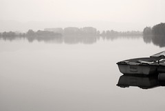 """Smile"" (helmet13) Tags: leicadlux3 lake boat reflection bw minimalist harmony heartaward"