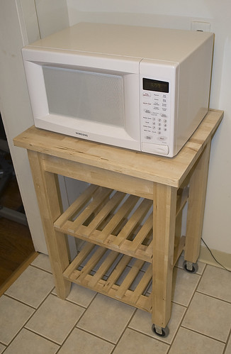 IKEA kitchen stand and Samsung microwave