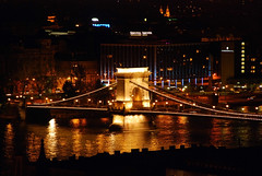 Golden way to Budapest (unlimited inspirations) Tags: road city travel bridge blue red panorama green castle art love water beautiful beauty yellow architecture night buildings reflections river dark fun lights golden design europe hungary colours darkness purple angle capital budapest towers creative landmark best colourful unforgettable attractions riverdanube chainbridge szchenyichainbridge saariysqualitypictures