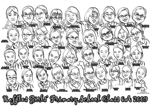 Raffles Girls Primary School Class 6A 2009 caricatures (with names) A4