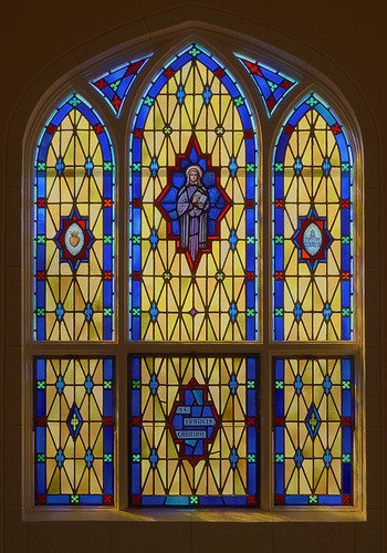 Saint Norbert Roman Catholic Church, in Hardin, Illinois, USA - stained glass window of Saint Francis Cabrini