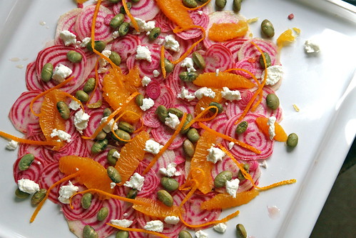 Beet Salad with Orange, Edamame, and Goat Cheese