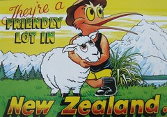 JF (Christine Janett) Tags: friends red newzealand snow mountains green bird love grass yellow happy sheep arms shots muscular postcard beak pals humour nz send shorts hugs kiwi mates flax gumboots firtrees inthemail nativefauna veryfriendly widebrimmedhat nationaltreasures smilingsheep shearersbluesinglet