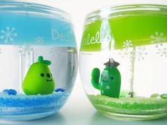 Neighbours saying hello. (Jen44) Tags: blue cactus plant cute green home glass fruit happy japanese candle clear kawaii pear jar transparent decor gel gelcandle decole decolello
