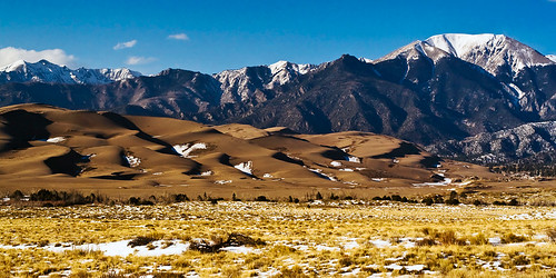 The Great Sand Dunes, at the western base of the Sangre de Cristo mountain range.