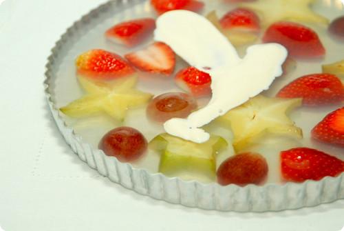 kanten de frutas com creme de leite