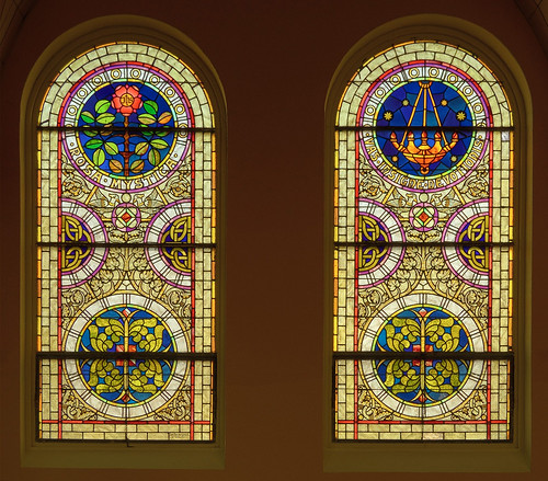 Saint Mary's Roman Catholic Church, in Fieldon, Illinois, USA - stained glass windows with titles of Mary