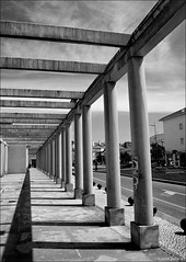 leading lines (julioc.) Tags: blackandwhite bw portugal monochrome lines architecture vanishingpoint blackwhite noir shadows outdoor geometry columns perspective nopeople olympus pb shades symmetry column pillars colonnade aveiro e510 bigmomma julioc challengeyouwinner photographybyjulioctheblog olympuse510 ilustrarportugal srieouro j2549 ilustrarportugal200904aveiro