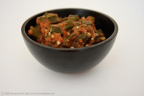 Okra (Lady Finger) In A Carom Spiced Tomato Sauce/ Bhindi Tamatar Ajwaini