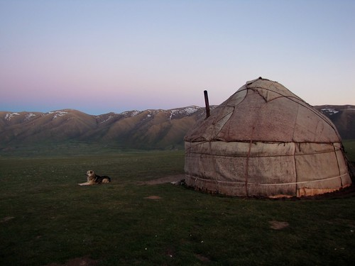 The yurt at dusk