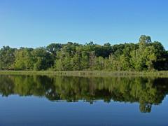 Twin Lake (Larry the Biker) Tags: park blue trees summer lake reflection green water spring pond michigan cottage oaklandtownship glaciallake kettlelake twinlakespark