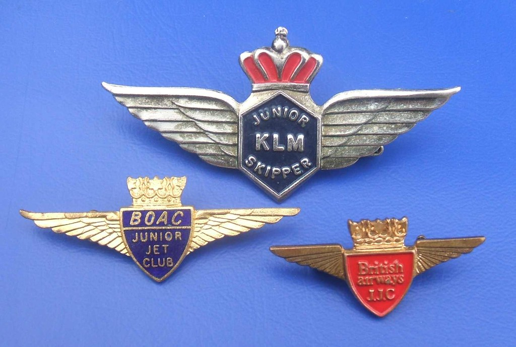 BOAC, British Airways & KLM Junior Jet Club badges